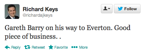 Richard Keys Tweet Gareth Barry to Everton