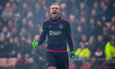 goalkeeper Jasper Cillessen of Ajax during the Dutch Eredivisie match between PSV Eindhoven and Ajax Amsterdam at the Phillips stadium on March 20, 2016 in Eindhoven, The Netherlands(Photo by VI Images via Getty Images)