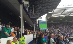 Spurs fans at Goodison Park