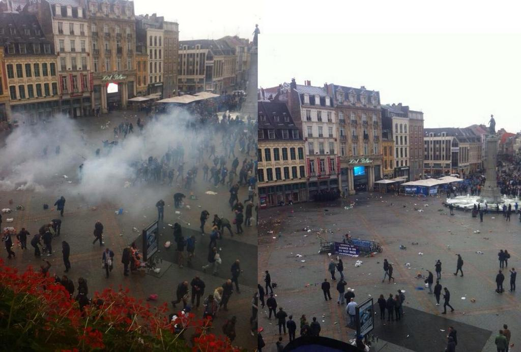 Tear gas used on Everton fans in Lille