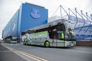 Coaches lined up outside Goodison Park