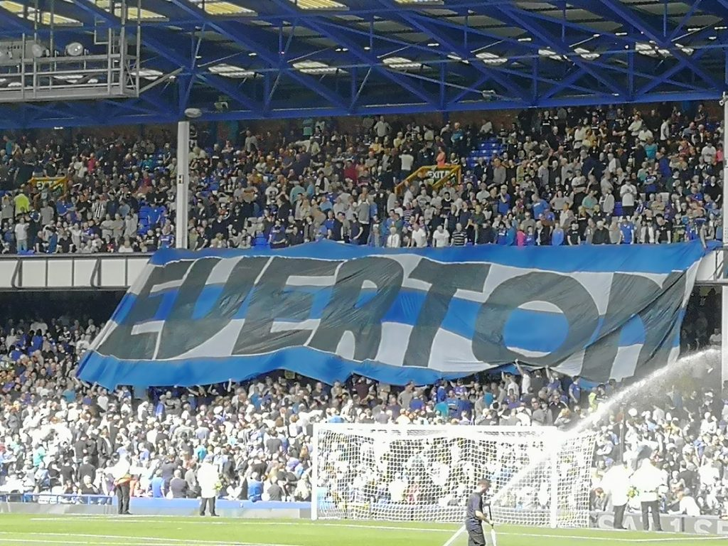 Everton fans in the Street End